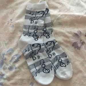 Music notes socks black and white band choir piano